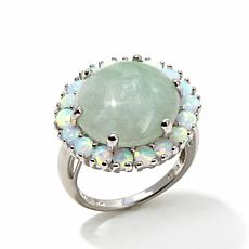 Jade of Yesteryear Green Jade and Synthetic Opal Ring
