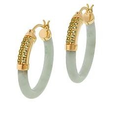 Jade of Yesteryear Jade and Gemstone Hoop Earrings