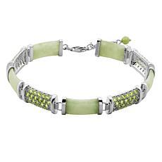 Jade of Yesteryear Jade and Peridot Pavé Station Bracelet
