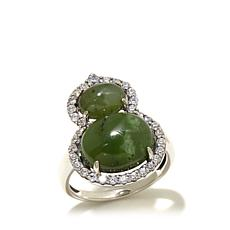 Jade of Yesteryear Nephrite Jade and CZ Double Ring