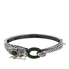 Jade of Yesteryear Nephrite Jade, Ruby and CZ Dragon Bracelet