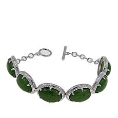 Jade of Yesteryear Nephrite Jade Sterling Silver Toggle Bracelet