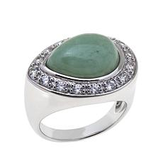 Jade of Yesteryear Pear-Shaped Green Jade and CZ Ring