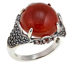Jade of Yesteryear Round Red Jade and Gem Ring