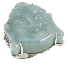 Jade of Yesteryear Sterling Silver Carved Jade Buddha Ring