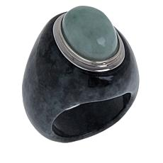 Jade of Yesteryear Sterling Silver Green and Charcoal Jade Ring