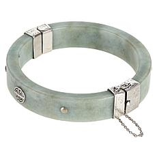 "Jade of Yesteryear Sterling Silver Green Jade ""Sau"" Bangle"