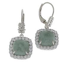 Jade of Yesteryear Sterling Silver Jade and CZ Square Drop Earrings