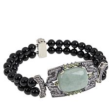 Jade of Yesteryear Sterling Silver Jade and Gemstone Beaded Bracelet