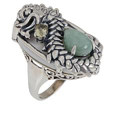Jade of Yesteryear Sterling Silver Jade and Gemstone Dragon Ring