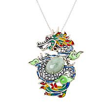 Jade of Yesteryear Sterling Silver Jade, Garnet and CZ Dragon Pendant