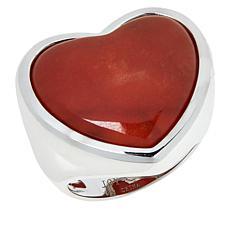 Jade of Yesteryear Sterling Silver Jade Heart Ring