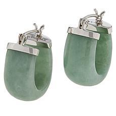 Jade of Yesteryear Sterling Silver Jade Wide Hoop Earrings