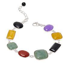 Jade of Yesteryear Sterling Silver Multicolor Jade Line Bracelet