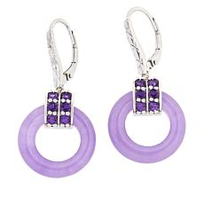 Jade of Yesteryear Sterling Silver Purple Jade and Amethyst Earrings