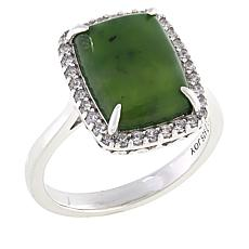 Jade of Yesteryear Sterling Silver Rectangular Jade Halo Ring