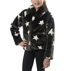 Jake and Anna Girls Faux Fur Black and White Star Jacket