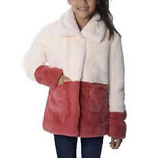 Jake and Anna Girls Faux Fur  Ivory and Blush Color Block Jacket