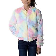 Jake and Anna Girls Faux Fur Rainbow Tie Dye Bomber