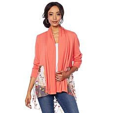 Jamie Gries Embroidered Mesh Draped Cardigan