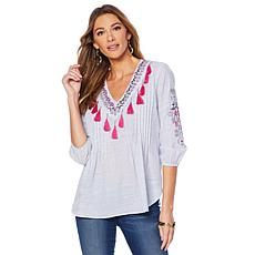 Jamie Gries Pintuck Pleated Embroidered Tassel Top