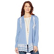 Jamie Gries Scallop and Lace Trim Cardigan Sweater