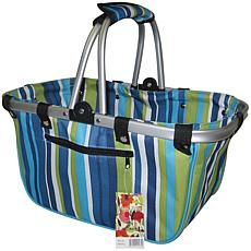 JanetBasket Large Aluminum Frame Bag - Blue Stripes