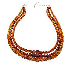 "Jay King 18-1/4"" Sterling Silver 3-Strand Amber Bead Necklace"