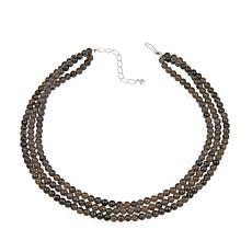 "Jay King 3-Strand Black Obsidian Bead 18"" Necklace"