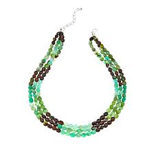 "Jay King 3-Strand Chrysoprase Bead 18"" Sterling Silver Necklace"
