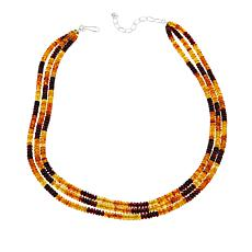 "Jay King 3-Strand Multicolor Amber Bead 18"" Sterling Silver Necklace"