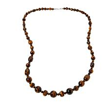 "Jay King 32"" Sterling Silver Tiger's Eye Quartz Bead Necklace"