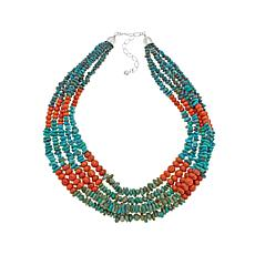 "Jay King 5-Strand Coral and Turquoise 18"" Necklace"