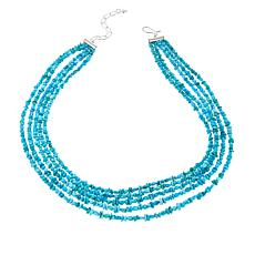 "Jay King 5-Strand Turquoise Bead 18"" Sterling Silver Necklace"