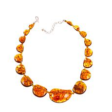 "Jay King Amber Station 19-1/4"" Sterling Silver Necklace"