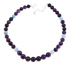 "Jay King Amethyst and Aquamarine Bead 20"" Sterling Silver Necklace"