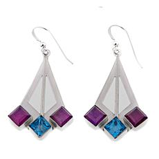 Jay King Amethyst and Blue Topaz Drop Sterling Silver Earrings