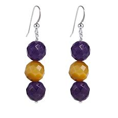 Jay King Amethyst and Golden Tiger's Eye Bead Sterling Silver Earrings