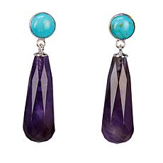 Jay King Amethyst and Turquoise Drop Sterling Silver Earrings