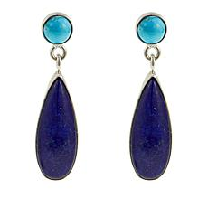 Jay King Andean Blue Turquoise and Lapis Drop Sterling Silver Earrings