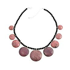 "Jay King Black Agate and Rhodonite 18"" Necklace"