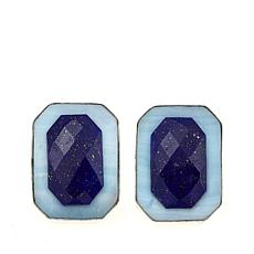 Jay King Blue Aragonite and Lapis Sterling Silver Post Earrings