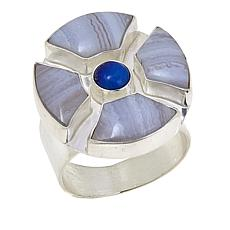 Jay King Blue Lace Agate and Lapis Cabochon Round Ring