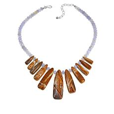 """Jay King Blue Lace Agate and Wagyl Stone 18"""" Sterling Silver Necklace"""