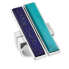 Jay King Blue Lapis and Campitos Turquoise 2-Ring Stackable Set
