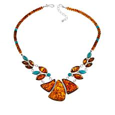 Jay King Campitos Turquoise and Amber Pendant Necklace