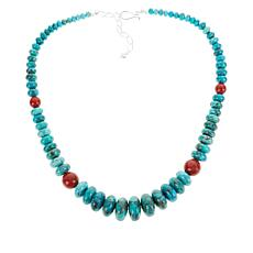 Jay King Campitos Turquoise and Red Coral Bead Necklace