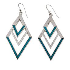 Jay King Campitos Turquoise Inlay Diamond-Shaped Drop Earrings