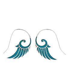 "Jay King Campitos Turquoise Inlay ""Wing"" Sterling Silver Earrings"