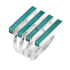 Jay King Campitos Turquoise Sterling Silver 4-Row Ring